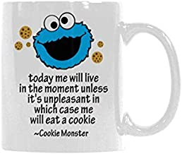 WECE Today me will live in the moment unless it's unpleasant in which case me will eat a cookie - cookie monster Mug Coffee Mug - Gifts for Coffee Lover,Funny (White, 11 Oz)