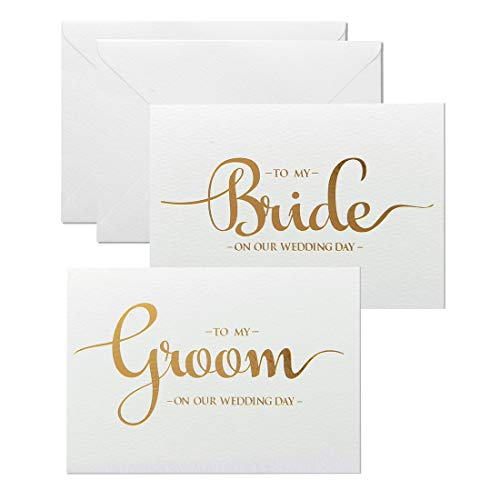 MAGJUCHE Wedding Day Cards Set, Gold Foiled to My Bride and to My Groom Wedding Vow Card with Envelopes