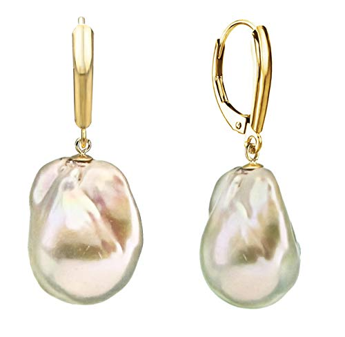 White Baroque Genuine Cultured Freshwater Pearl Drop Dangle Fancy Leverback Earrings for Women 15-17mm in 14k Yellow Gold Valentines Day Gifts Baroque Pearl Drop Earrings