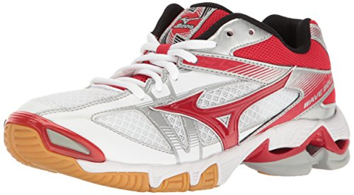Mizuno Damen Womens Shoes Wave Bolt 6, Volleyball-Schuhe, weiß/rot, 39.5 EU