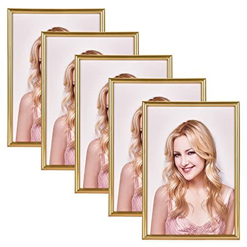 Alishomtll Lot de 5 cadres photo en plastique Format A4 21 x 29,7 cm Cadres pour plusieurs photos Doré