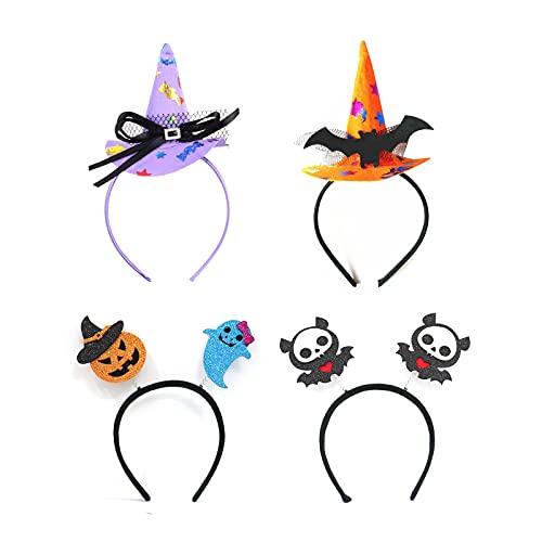 Fasce da Strega Squisite Cerchietti con Cappello Zucca Pipistrelli Accessori per Cappelli Ideale Regalo di Decorazione Halloween Feste in Costume Set da 4 Pezzi (stile3/pipistrello)