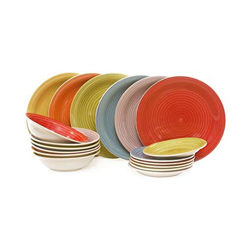 Set piatti 18 pezzi happiness, in gres porcellanato Multicolore