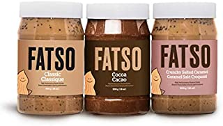 Variety Pack Peanut Butter, High-Performance Natural Peanut Butters: Classic Peanut Butter, Cocoa, & Crunchy Salted Caramel -- Each w/ Superfats like MCT Oil, Avocado Oil, Chia & More (3Pack - 500g)