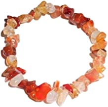 Sublime Gifts 1pc Natural Healing Crystal Fire Agate Chip Gemstone 7 Inch Stretch Bracelet