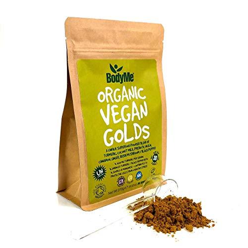 BodyMe Organic Vegan Golds Powder | 270g | Turmeric Blend | with Turmeric Coconut Milk Prebiotic Inulin Cinnamon Ginger Reishi Mushroom Black Pepper