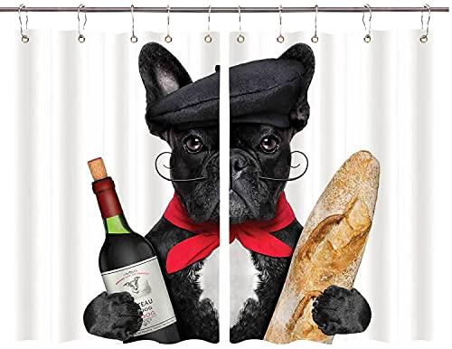 TISAGUER Cortina de Cocina,Perro francés con Sombrero con Vino Tinto y Pan Gourmet Parisienne Animal,Cortinas de Bistro para Cortinas Opacas con Aislamiento térmico