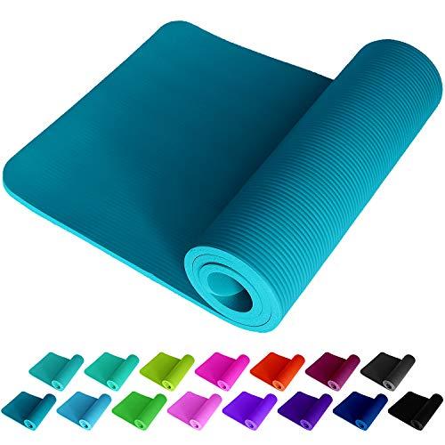 ReFit Fitnessmatte Yogamatte Petrolblau Petrol Petroleum Mineral Blau Blue 1.5 cm rutschfest gelenkschonend geruchsneutral EXTRA dick weich groß 183 x 61 x 1.5 mit Trageband Fitness Sport Yoga Matte