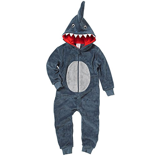 Onesies Animal Crazy Boys Mens Shark Supersoft Fleece Jumpsuit Playsuit UK Seller - Grey - 3/4 Years