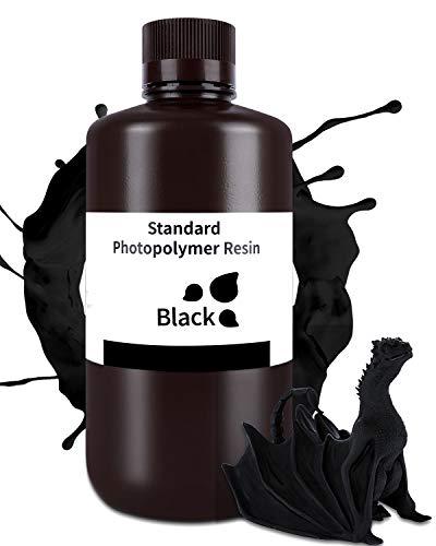 ELEGOO 3D Printer Resin, 1000g Black Standard 405nm Rapid UV-Curing Resin for LCD 3D Printer