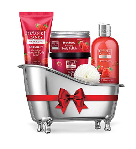 Bryan & Candy New York Strawberry Bath Tub Kit Gift For Women And Men Combo For Complete Home Spa Experience (Shower Gel, Hand & Body Lotion, Sugar Scrub, Body Polish)