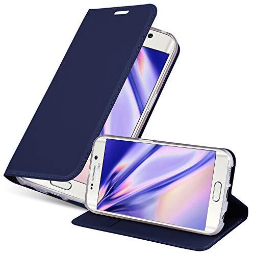 Cadorabo Hülle für Samsung Galaxy S6 Edge - Hülle in DUNKEL BLAU – Handyhülle mit Standfunktion und Kartenfach im Metallic Look - Case Cover Schutzhülle Etui Tasche Book Klapp Style