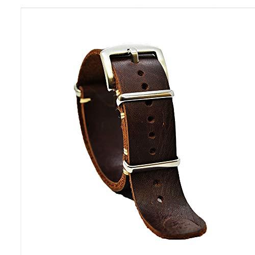 Correa de reloj de la OTAN Zulu de cuero militar engrasado largo marrón whisky lona elegante hebilla de acero inoxidable elegir tamaño 18 mm 20 mm 22 mm 24 mm