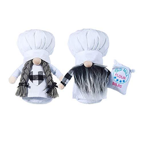Non-brand Gnomo sin Rostro, decoración de muñecas enanas de Peluche, Cocina Chef muñeca para Pareja, casa muñecas sin Rostro Regalos Ornamentos