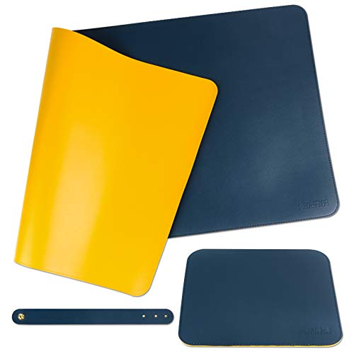 FENRIR Alfombrilla de Ratón 80x40cm+25x21cm, Alfombrilla de Escritorio, Alfombrilla de escritorio de oficina, Doble cara (Azul-Amarillo)