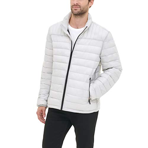 DKNY Men's Water Resistant Ultra Loft Quilted Packable Puffer Jacket, Ice, Large
