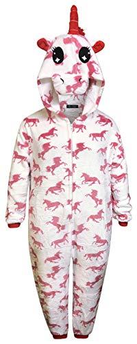 Kinder Einhorn Onesie Mädchen Bequeme Pyjamas Jungen weichen Schlafanzug Geschenke für Kinder Tier Jumpsuit Dress Up Kostüm, Einhorn - Weiße Rosa Einhörner, 12-13 Jahre (Tag 125)