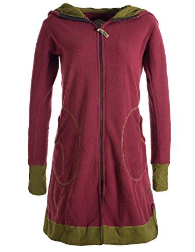 Vishes - Alternative Bekleidung - Langer Eco Fleecemantel mit großer Kapuze und Daumenlöchern dunkelrot 38-40