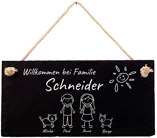 Türschild mit Gravur aus Schiefer, Willkommen bei Familie, Willkommensschild für die Wohnung mit Wunschnamen, personalisiertes Namensschild auf Schiefertafel mit Kordel für Deine Haustür