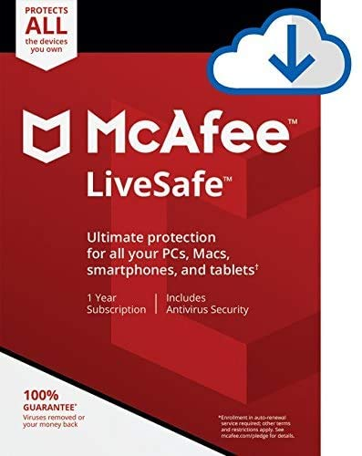 McAfee LiveSafe Unlimited Devices 1 Year (Registration code & Link on E Mail)