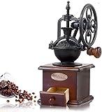 Yukefeng Molinillo de café Manual Hierro Fundido Antiguo Manivela Molinillo de café con ajustes de molienda y cajón de captura