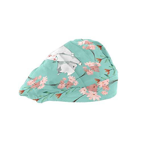 Gorra de trabajo para mujer con banda de algodón ajustable, gorro elástico, diseño de gato salvaje rosa con flores para hombres
