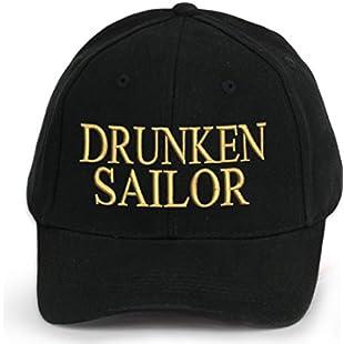 4sold Men Women 100% Cotton Ancient Mariner, Captain Cabin Boy Crew First Mate Yachting Baseball Cap Inscription Lettering Black Gold (Drunken Sailor)