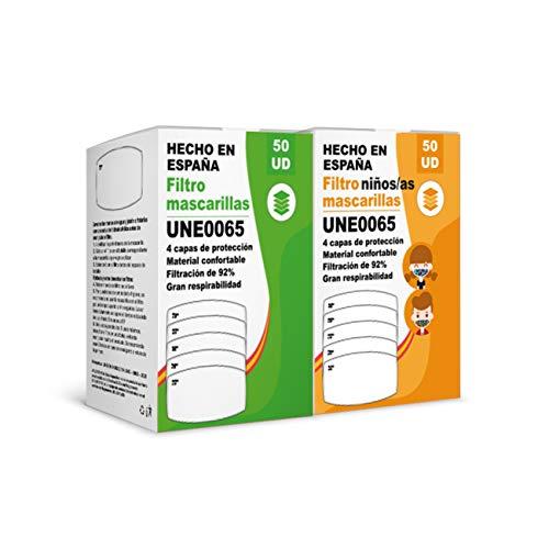 [ENVÍOS EN 24H] KALLPA® Pack de 100 filtros para mascarillas UNE0065 - REUTILIZABLES - fabricados en España - hidrófobo, antiestático y antibacteriano, muy transpirable (TNT) (Packs Niño y adulto)