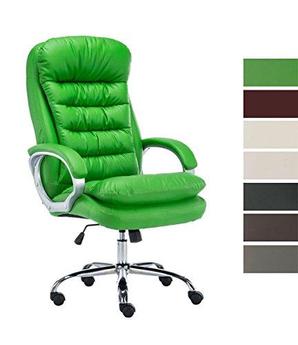 CLP XXL Bürostuhl Vancouver mit Kunstlederbezug I Drehstuhl mit max. Belastbarkeit bis zu 235 kg I Chefsessel mit Laufrollen I erhältlich Grün