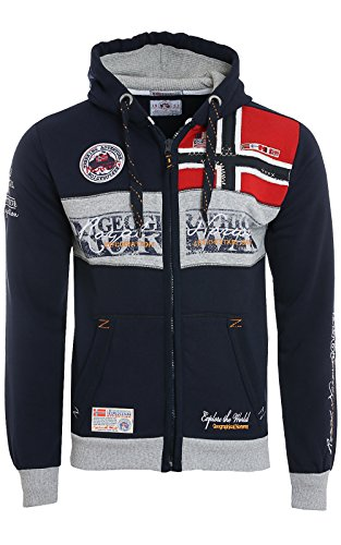 Geographical Norway Herren Kapuzenpullover, Flyer Men , Gr. Small (Herstellergröße: Small), Blau (Navy)
