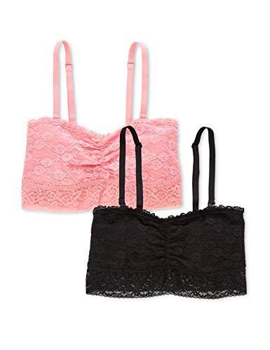 Amazon-Marke: IRIS & LILLY Damen BH, 2er-Pack, Mehrfarbig (Black/pink), XS, Label: XS