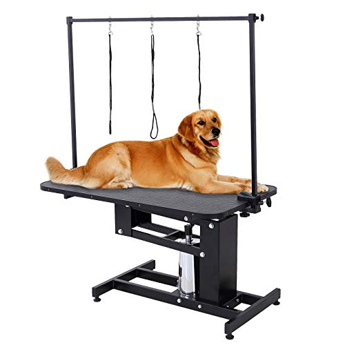 """SUNCOO Pet Dog Grooming Table Heavy Duty Z-Lift Table with Arm Leash Loop Height Professional Adjustable Hydraulic Pump Medium Large Dog 43.3"""" L x 24"""" W x 21.6-38.9"""" H"""