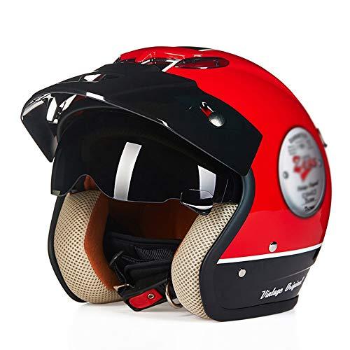 HongTong Cascos Casco de la Motocicleta, con Gafas de Sol, Medio Casco, Casco Retro, ventilado y Transpirable, Opcionales (Color : Red, Size : Large)