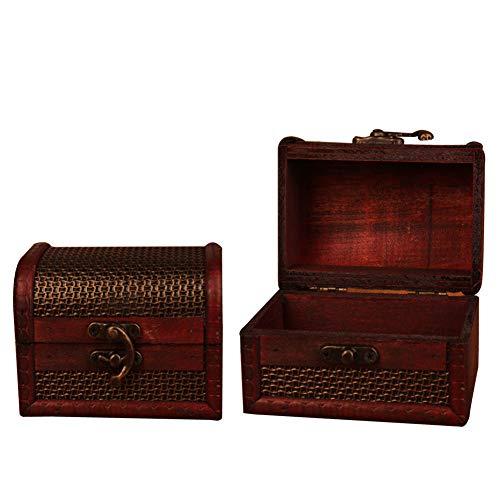 Meltset Schmuck Aufbewahrung Holz Box Case Organizer Ring Halskette Ohrringe Armband Piraten Schatz Schmuck Accessoires Brust, 2Stück