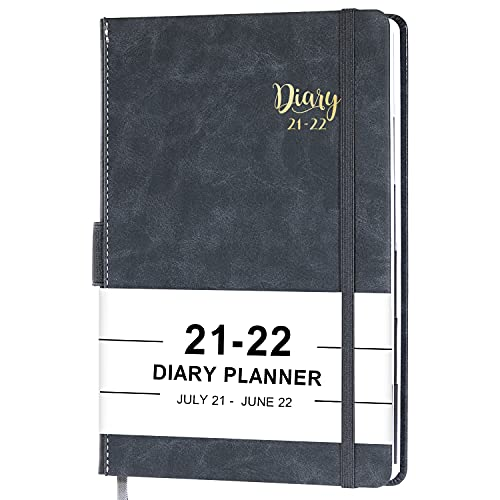 2021-2022 Appointment Book/Planner-2021-2022 Diary, July 2021- June 2022, 5.75'' x 8.25'', Daily Planner with Leather Hardcover, Elastic Closure, Pen Loop, Tabs