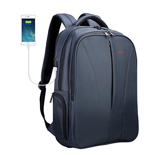 Fubevod Tigernu Business Laptop Backpack sottile antifurto computer di viaggio zaini borsa per laptop impermeabile per gli uomini/donne con porta USB di ricarica 15.6 pollici Grigio