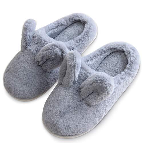 [Zerohub] スリッパ レディース かわいい グレー 250MM もこもこ ウサギ耳 室内履き 履きやすい 冬用 暖かい