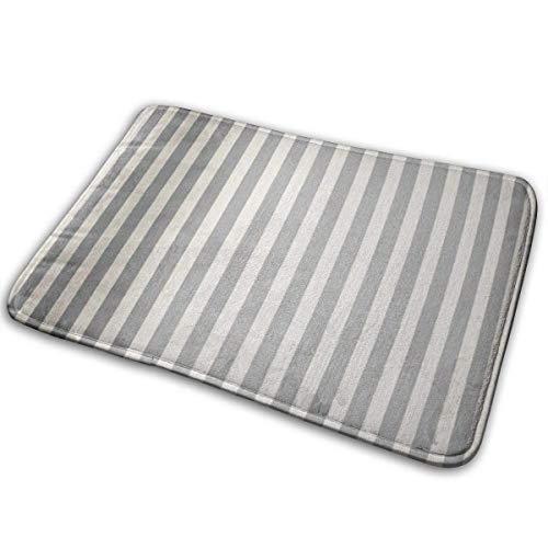 Esteras universales antideslizantes para puerta y exteriores, rectangulares y antideslizantes, diseño de rayas grises clásico fino en gris y crema a rayas