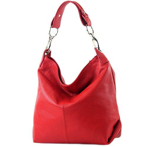 modamoda de - T168 - ital Schulter-/Umhängetasche aus Leder, Farbe:Rot