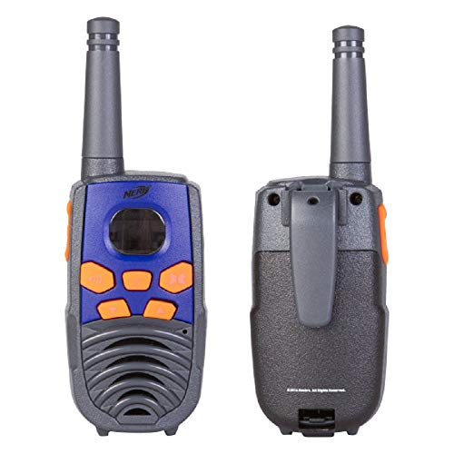NERF 10 Mile Walkie Talkies Set 37756 | Delivers Transmission with 10 Mile Communication Range, Flexible Safety Antenna & Morse Code with On/Off Switch (Orange & Black)