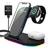 Wireless Charger Station, SIATOES 3 in 1 Wirless Charging Dock Qi Wireless Charging Stand for Airpods and iPhone, Fast Wireless Charger Compatibility with Apple Watch Series Se/6/5/4/3/2/1
