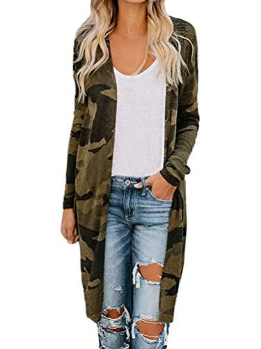 Tomwell Cardigan Lang Damen Camouflage Langarm Mantel Frühling Freizeit Mode Streetwear Outwear Tarnen DE 38