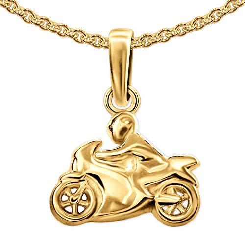 CLEVER SCHMUCK - Colgante para moto (12 x 9 mm, con cadena de 45 cm, plata de ley 925 chapada en oro), diseño de ancla, color dorado
