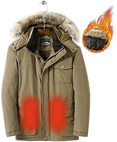CHNDR heren winterverwarming kleding jas, wasbare verwarmde mantel, capuchon ontwerp, voor koude outdoor-activiteiten, jacht kamperen wandelen skiën vissen (geen batterij), blauw M