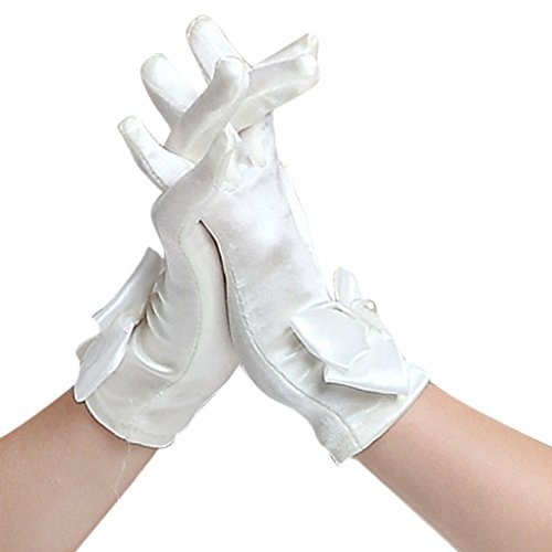 Kids Girls Fashion Exquisite Cute Bow Full-fingered Short Satin Special Occasion Evening Prom Wedding Gloves White 6-14yrs
