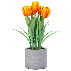 Silk Flower Arrangements Jusdreen Artificial Potted Tulips Flowers with Cement Vase Vivid Tulip Flowers Arrangement for Home Office Décor House Decorations(5 Orange Tulips)