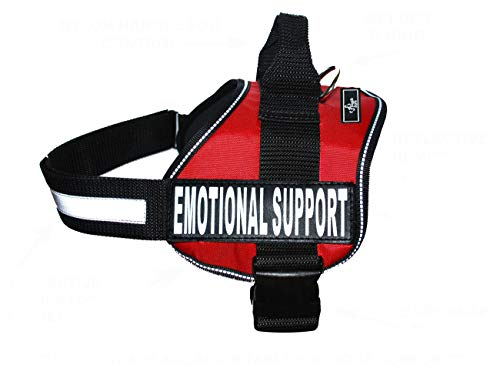 "Doggie Stylz Emotional Support Dog Vest with 2 Free Hook and Loop Removable Emotional Support Animal Patches, Reflective Lightweight Cool Soft Adjustable K9 Harness (Girth 19""- 25' Red)"