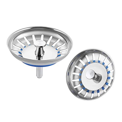 Amazon Brand - Umi Filtro per Lavello da Cucina, 2 Pezzi Acciaio Inox Filtro Lavello Scarico Cucina, Tappo Cestello per Lavabo Foro Colino, PSS5-P2