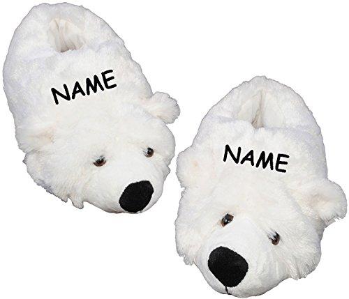 alles-meine.de GmbH Hausschuh / Pantoffel -  Eisbär / Teddybär  - incl. Name - Größe Gr. 37 - 38 - 39 - 40 - 41 - 42 __ schön warm __ Plüschhausschuh / Tier - Tiere - für Kinde..