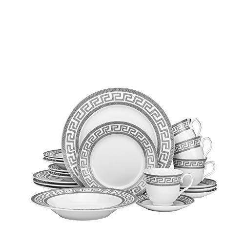 Euro Porcelain 20-pc Luxury Dinnerware Set w Silver Greek Key Ornament HQ Dining Tableware Service for 4 Greek Key Silv
